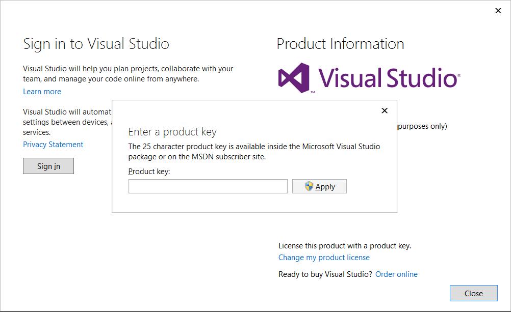 msdn product key visual studio 2013