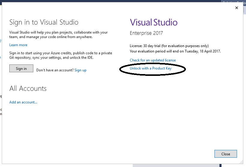 Visual Studio 2017 – Using a Product Key – Sanders Technology