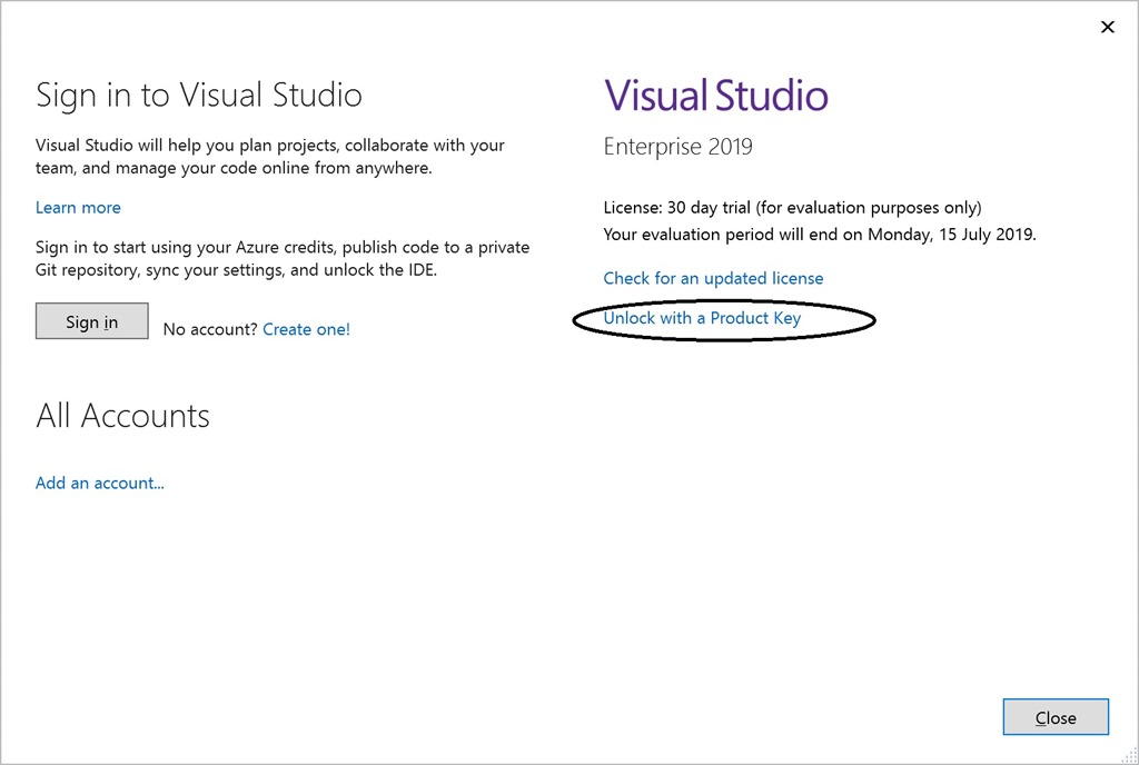 Visual Studio 2019 – Using a Product Key – Sanders Technology